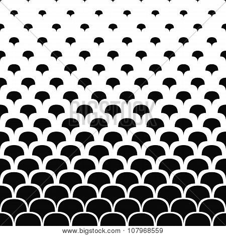 Seamless black and white curved shape pattern