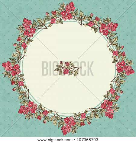 Vector Vintage Greeting Card With A Doodle Red Flowers Bouquet And Frame For Text On Retro Dirty Bac