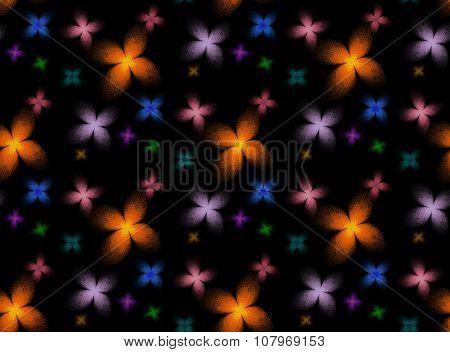 Fractal butterfly background, a seamless pattern on black background