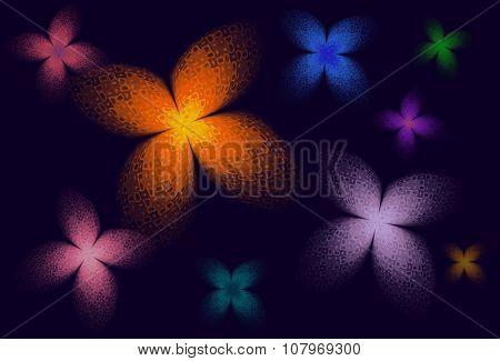 Fractal butterflies in many colors on dark purple background