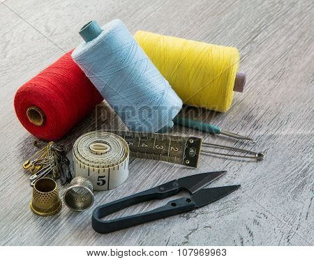 Scissors, Thread, Pins, Needles