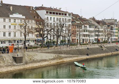 View to the buildings at the bank of Rhine river in Basel, Switzerland.