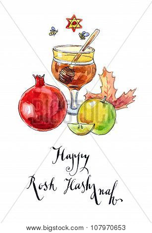 Pomegranate, Apple, Maple Leaf And Honey - Symbols Of Jewish New Year