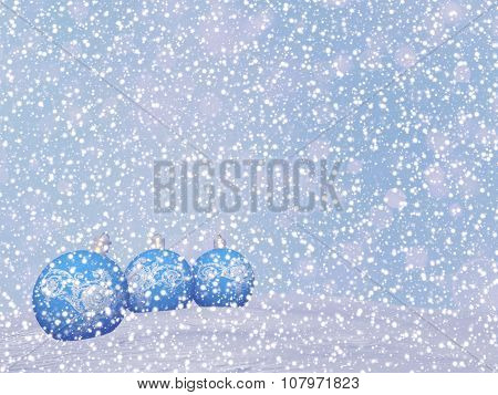 Blue Christmas balls - 3D render