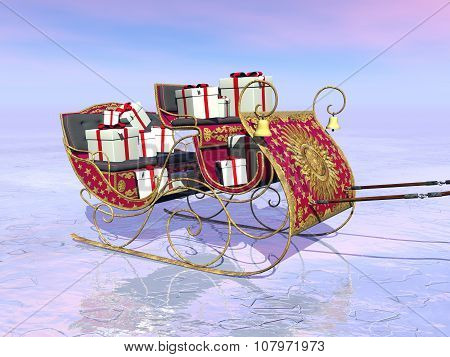 Christmas Santa sleigh full of gifts - 3D render