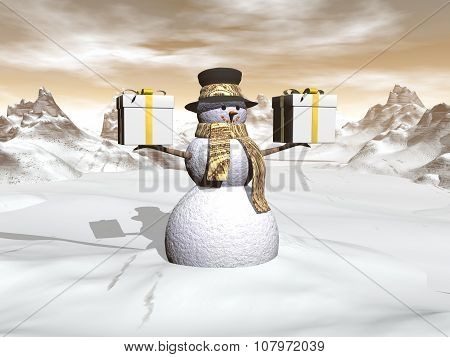Snowman holding two big gifts - 3D render