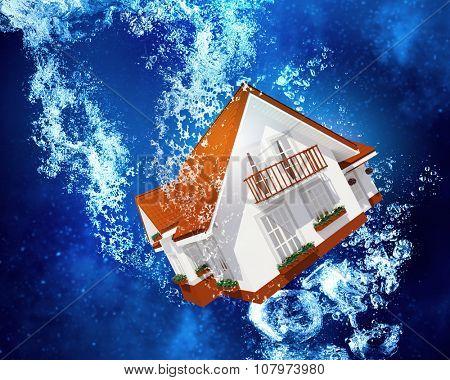 House model sinking in clear blue water