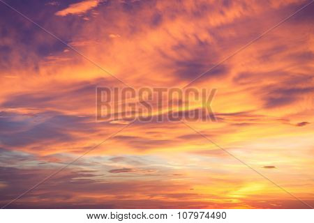 Fantastic background of real sundown sky, colorful natural wallpaper