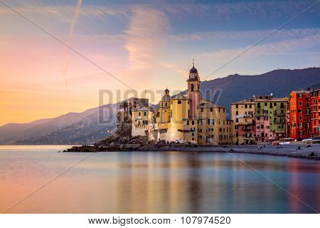 Beautiful Small Mediterranean Town at the sunrise time - Camogli, Italy, European travel