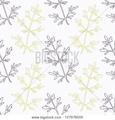 Hand drawn ruta or rue branch wirh flowers stylized black and green seamless pattern