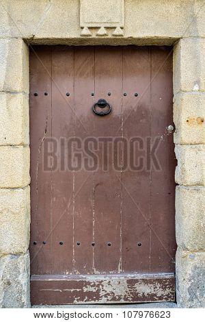 Old wooden door in Vannes, France