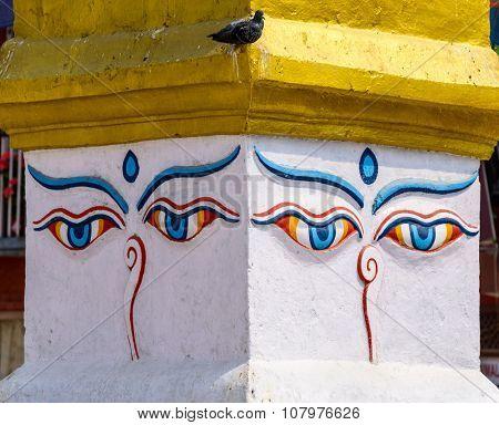 Buddha's eyes at Boudhanath stupa in Kathmandu, Nepal