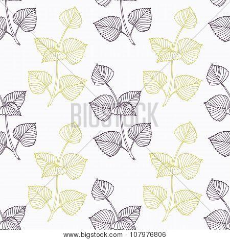 Hand drawn perilla herb branch wirh flowers stylized black and green seamless pattern