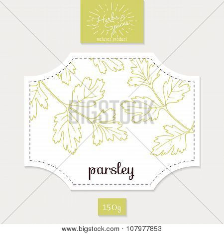 Product sticker with hand drawn parsley leaves. Spicy herbs packaging design