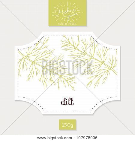 Product sticker with hand drawn dill leaves. Spicy herbs packaging design