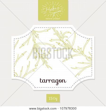 Product sticker with hand drawn tarragon leaves. Spicy herbs packaging design