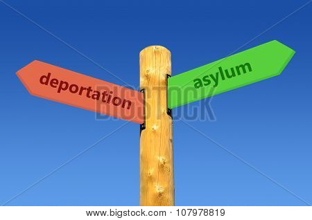 direction sign deportation <--> asylum