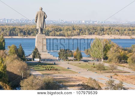 View Of The Alley Leading To The Central Promenade, And A Statue Of Lenin In The Krasnoarmeysk Distr