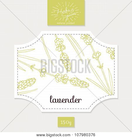 Product sticker with hand drawn lavender leaves and flowers. Spicy herbs packaging design