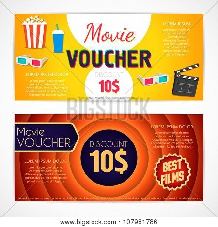Discount voucher movie template, cinema gift certificate, coupon template. Vector design