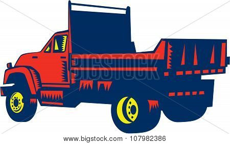 Flatbed Truck Woodcut