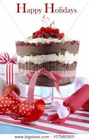 Festive Black Forest Trifle Dessert