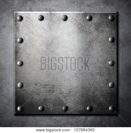 steel metal square plate or hatch with rivets