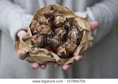 Hands Holding Bag Of Roast Chestnuts