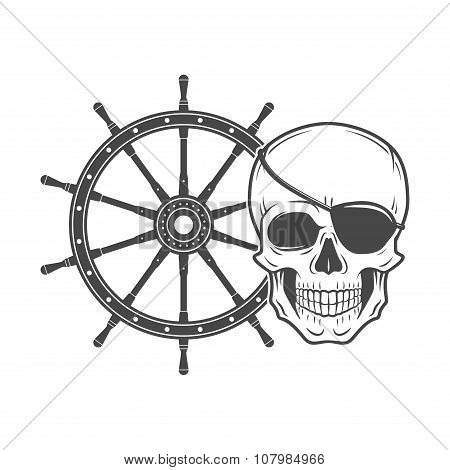 Jolly Roger with eyepatch logo template. Evil skull vector. Dark t-shirt design. Pirate insignia con