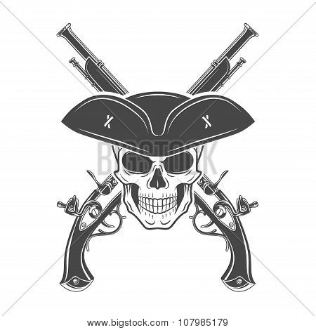 Evil captain skull in cocked hat vector template. Jolly Roger logo template. death crest design. Pis