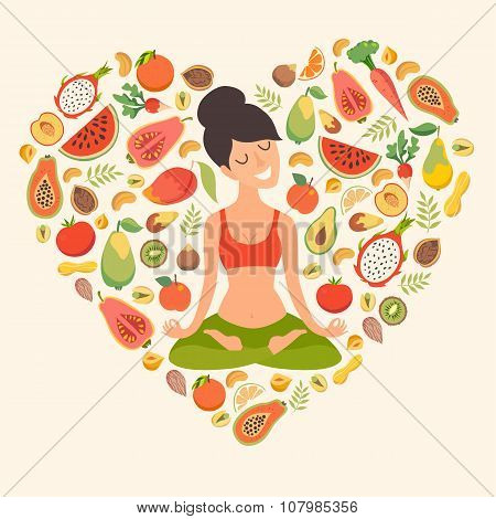 Beautiful girl in the lotus position  on the background with fruit