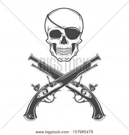 Jolly Roger with eyepatch and pistols logo template. Evil skull vector icon. Dark t-shirt design. Pi
