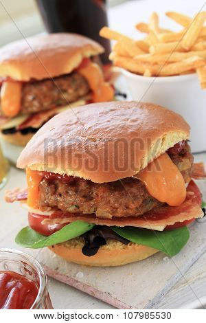 plated burger meal