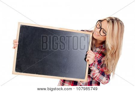 Beautiful blonde girl with glasses holding a slate isolated on a white background