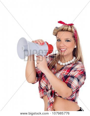 Cute girl shouting by megaphone in pinup style isolated on a white background