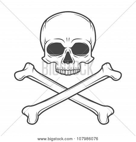 Human evil skull vector. Pirate insignia concept design. Jolly Roger with crossbones logo template.