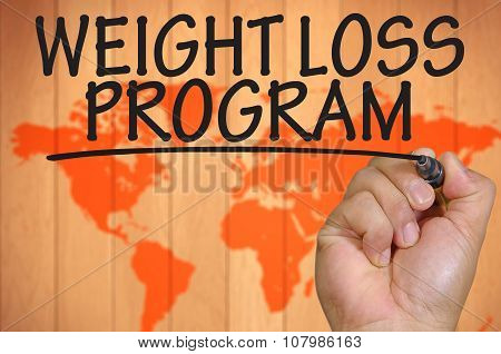 Hand Writing Weight Loss Program Over Blur World Background