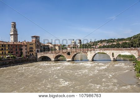 Beautiful View Of Old Houses And River In Verona