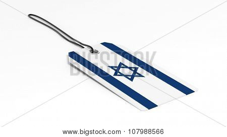 Made in Israel price tag with national flag, isolated on white background.