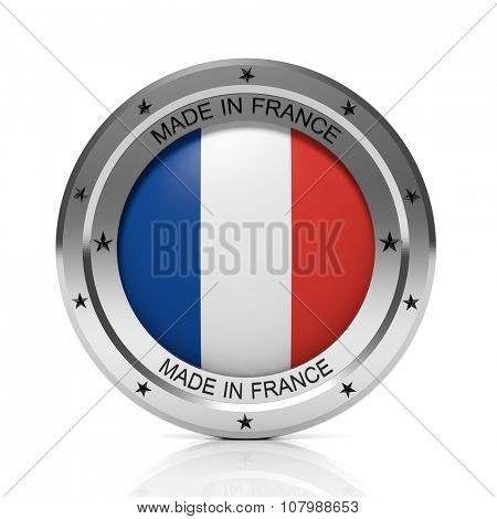 Made in France round badge with national flag, isolated on white background.