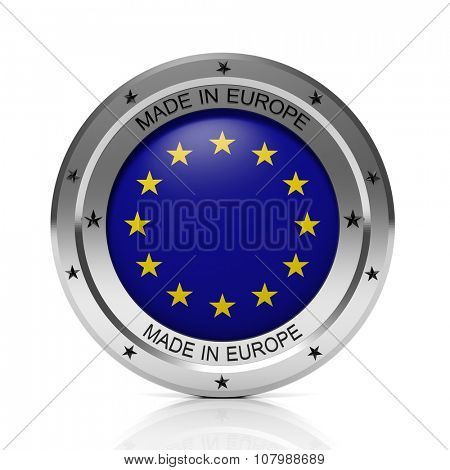 Made in EU round badge with national flag, isolated on white background.