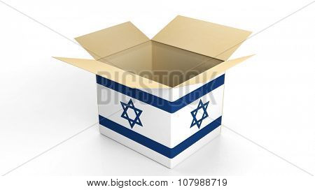 Carton box with Israel national flag, isolated on white background.
