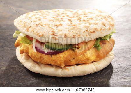 Indian chicken pakora burger