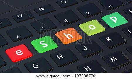 Black keyboard closeup with word eShop