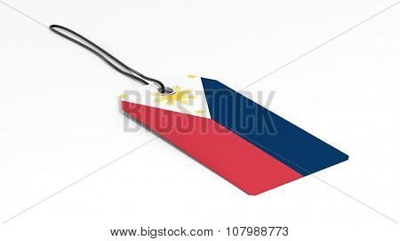 Made in Philippines price tag with national flag, isolated on white background.