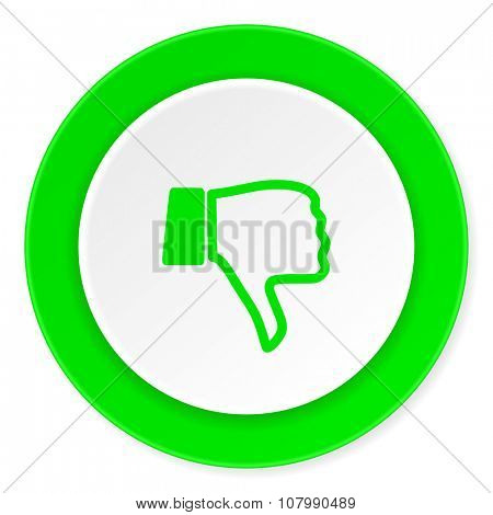 dislike green fresh circle 3d modern flat design icon on white background