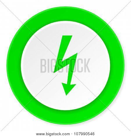 bolt green fresh circle 3d modern flat design icon on white background