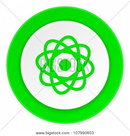 atom green fresh circle 3d modern flat design icon on white background