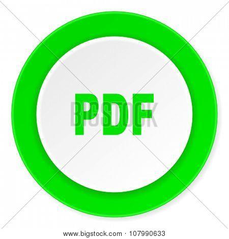 pdf green fresh circle 3d modern flat design icon on white background
