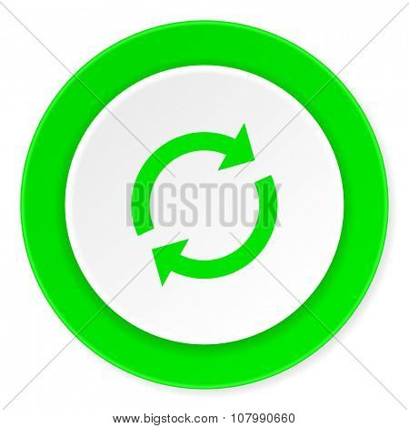 reload green fresh circle 3d modern flat design icon on white background